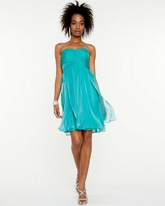 Iridescent Chiffon Sweetheart Dress Le Chateau - on sale for $99