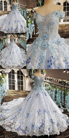 vestido festa lace up back off the shoulder lace ball gown beading lace robe de soiree blue evening dresses real photos Vintage Ball Gowns, Lace Ball Gowns, Vintage Dresses, Unique Dresses, Pretty Dresses, Beautiful Dresses, Wedding Gown Ballgown, Wedding Gowns, Belle Ballgown