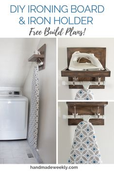 DIY Ironing Board & Iron Holder Free woodworking build plans for a DIY ironing board and iron holder. Can be customized based on iron and ironing board dimensions. Laundry Room Remodel, Laundry Closet, Laundry Room Organization, Laundry Room Design, Laundry In Bathroom, Laundry Drying, Laundry Decor, Ikea Laundry, Laundry Hanger