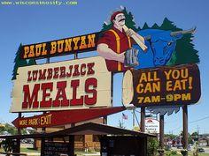 Paul Bonyan Restaurant, Wisconsin, Dells - amazing breakfast...served Family Style (all u can eat!)