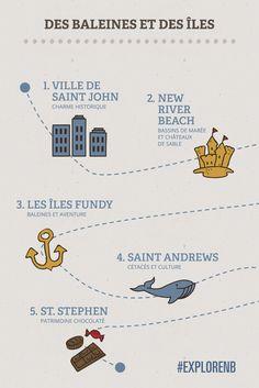 Des baleines et des îles, Nouveau-Brunswick Canada | Partez à la découverte des marées les plus hautes du monde, des majestueuses baleines et de la riche culture de la région. Cette aventure vous plongera dans le véritable esprit de Fundy : promenez-vous dans les rues de la plus ancienne ville canadienne, puis empruntez le traversier jusqu'aux îles Fundy. N'oubliez surtout pas de faire le plein de guedilles au homard!