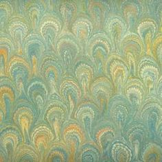 Berretti Florentine Marbled Paper - Turquoise Peacock Pattern