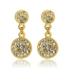 Picture of Fashion Earrings Women Trendy Round Gold Plated Alloy Zircon