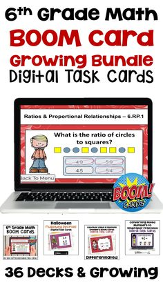 These 6th grade math digital task cards task cards on the BOOM Learning website make learning fun and would be perfect for teaching ratios, fractions, word problems, integers, decimals, and test prep.  These differentiated task cards are common core aligned and would be great for students for early finishers, small groups, morning work, classwork or homework.  BOOM cards are interactive and self grading saving valuable time in the classroom. Math Lesson Plans, Math Lessons, Math Stations, Math Centers, Worksheets, Teaching Math, Teaching Tools, Teacher Resources, Classroom Resources