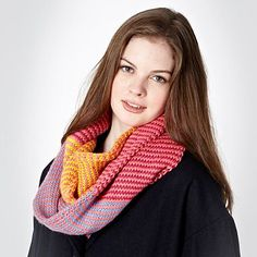 Pink Colour Blocked Snood - Knitted scarves - Scarves - Women -