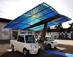 Photovoltaic SUDI shade is an mobile station in France that generate energy for electric vehicles using solar energy.