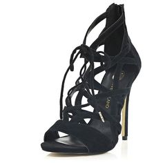 River Island Black suede caged lace up sandals ($130) ❤ liked on Polyvore