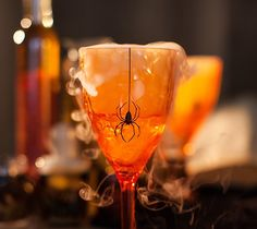 """Spider Goblets - These creepy goblets are going to look great at my Halloween party. A little touch of creepy-crawly is just what they needed! My goblets measure 8"""". Images are from the Cricut® Potions & Spells digital cartridge. ❤ Shanon"""