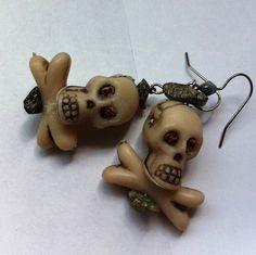 Jeweled eye skull and cross bones earrings by BeadingByJenn, $8.50