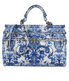 Roberto Cavalli blue and white porcelain-print handbag, 2013 Spring/Summer Collection