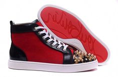 04d2c597a22b Christian Louboutin Red Suede Leopard Gold Spike High Sneakers   ChristianLouboutin