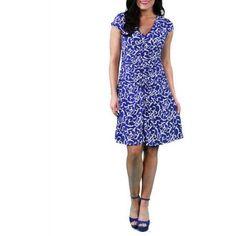 24/7 Comfort Apparel Women's Abstract Blue Shirred Dress, Size: Medium