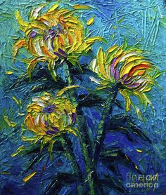 Painting - Chrysanthemums Etude by Mona Edulesco ,You can find Chrysanthemums and more on our website.Painting - Chrysanthemums Etude by Mona Edulesco , Oil Painting Flowers, Abstract Flowers, Sunflower Paintings, Palette Knife Painting, Texture Art, Chrysanthemum, Painting Techniques, Bunt, Flower Art