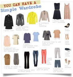 """""""Clearly, this won't work for everyone—if you have a formal job, for example, I might add another pair of pants, a skirt, a dress, and a jacket. But I think it's a good starting point for a basic closet...the number of outfit options on this wardrobe board are amazing! Short-sleeve tee over long-sleeve tee, dress over blouse--you have to be willing to think outside the ordinary to make a minimal wardrobe work."""""""