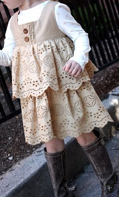 Too bad i dont have a girl... so cute!!! love this little dress with boots