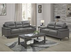 Topline Home Furnishings Dark Grey Leather Sofa Set Dark Grey Contemporary Living Room Sets, Living Room Color Schemes, Farm House Living Room, Small Living Room Design, Living Room Sets, Perfect Living Room Decor, Living Room Leather, Living Room Grey, Grey Leather Sofa Living Room