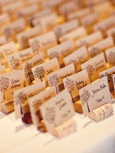 Place cards with wine corks and rustic card stock