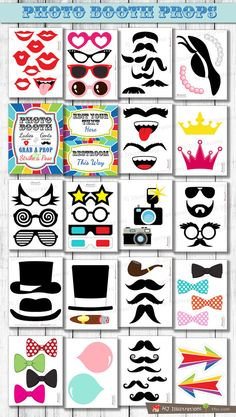 67 PRINTABLE Photobooth Props for your Party! They are a great way to get your guests Happy! All files are in PDF format