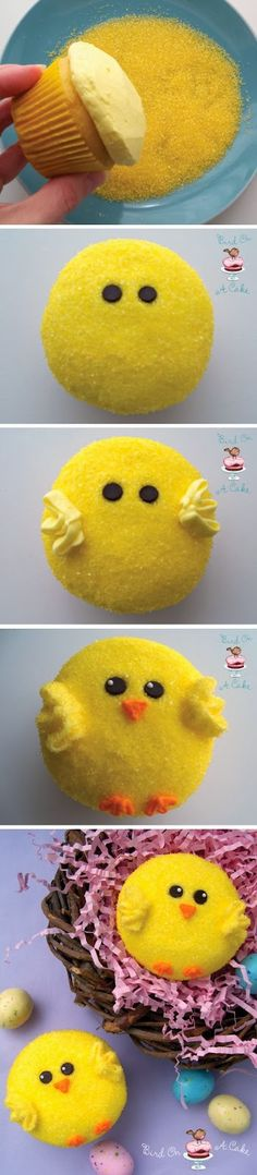 Cool ~ So simple, yet so effective! We'll certainly be making these fab Easter chick cupcakes from Bird on a Cake! ~ Enjoy!