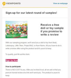 FREE Doll or Toy Product Test! - http://gimmiefreebies.com/topic/free-doll-or-toy-product-test/