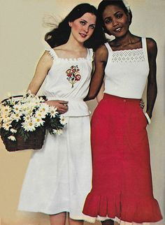 May 1977. 'Petticoats have come out from under clothes, newly transformed into delicate summer looks.