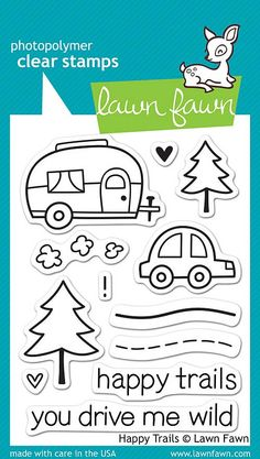 "LAWN FAWN: Happy Trails (4"" x 6"" Unmounted Clear Acrylic Stamp Set) Pack your bags and hit the road with this cute set of 12 clear stamps! This Package includes Happy Trails : two sentiment and ten im"