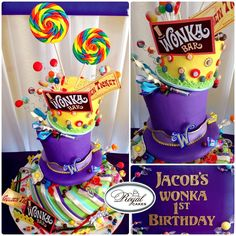 ~Wonka World!~ Whimsical and yummy 1st Birthday Willy Wonka cake! So fun! www.RoyalCakesLA.com
