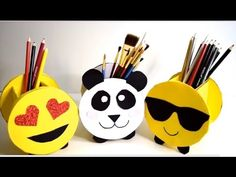{DIY} Pencil Holders Emoji and Panda | Cardboard Storage - YouTube