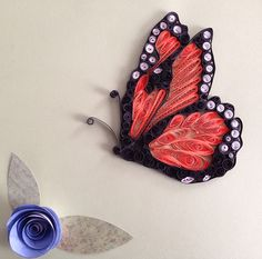 Butterfly, the Nectar Feeder Neli Quilling, Quilling Butterfly, Paper Quilling Patterns, Origami And Quilling, Quilled Paper Art, Quilling Paper Craft, Paper Butterflies, Butterfly Crafts, Butterfly Art