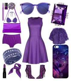 """Purple Pashion"" by creation-gallery ❤ liked on Polyvore featuring Michael Kors, Christian Louboutin, Le Specs, Giorgio Armani, Dorothy Perkins, J.Crew, Swarovski, Shrimps, Smashbox and NARS Cosmetics"