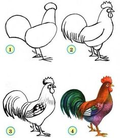 how to draw cook Bird Drawings, Easy Drawings, Animal Drawings, Drawing Sketches, Sketching, Rooster Painting, Rooster Art, Chicken Crafts, Chicken Art