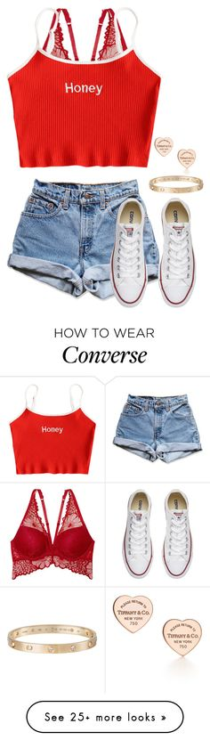 """Untitled #669"" by dauntless-darling on Polyvore featuring Victoria's Secret, Levi's, Converse, Tiffany & Co. and Cartier"