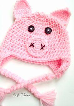 Crochet Animal Hats, Crochet Pig, Crochet Kids Hats, Newborn Crochet, Crochet Gifts, Crocheted Hats, Crochet Things, Crochet Character Hats, Sock Monkey Hat