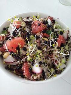 Grapefruit, mung beans, spouts, raddish, brocolli, chickpea, dried currants and quinoa