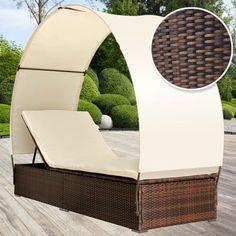 Miadomodo - Miadomodo Chaise longue en poly rotin avec pare-soleil gris