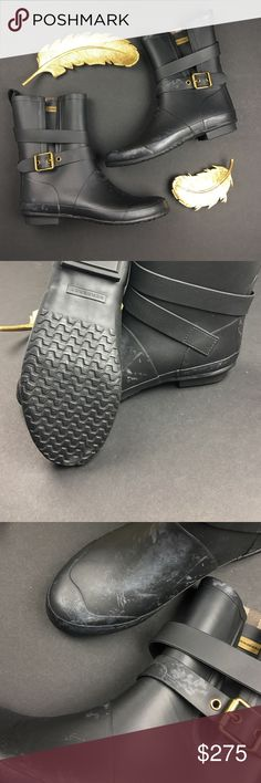 Burberry Black Mid Buckle Rain Boots PLEASE READ ENTIRETY OF DESCRIPTION/NWT in Great Condition/ No Trades/ No PayPal/ Smoke & Pet Free Home/ Please Ask Questions!/ Like what you see but the price too high? Make an offer!/ these are NEW never worn out but some product brushed on the boots. Very faint. Should be able to remove with treatment, but I just have no time to remove/ EUR 40 Burberry Shoes Winter & Rain Boots