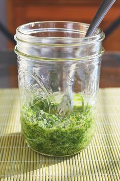 Two Recipes: Homemade Nut-Free Basil Pesto.  Perfect if you or someone you cook for can't eat nuts!