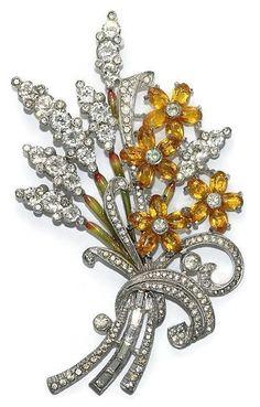 $375 US  Pennino Enamel Rhinestone Floral Pin Brooch