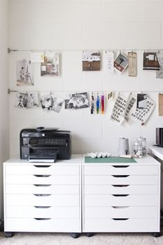 Office of Lindsay Stetson Thompson, graphic designer (MStetson Design) has #Ikea Alex flat file cabinets and cable lines to informally hang items of interest.