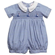 For those who love traditional dressing, this adorable blue striped, short cotton babysuit is perfect. It has delicate hand smocking on the chest with adorable embroidered sailboats and cloth covered buttons that fasten on the back and between the legs. Blue Gingham, Gingham Dress, Striped Dress, Romper With Train, Romper Pattern, Baby Bloomers, One Clothing, Boy Blue, Smock Dress