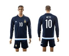 2015-2016 Argentina #10 MESSI Away Dark Blue Long Sleeve Soccer Jersey