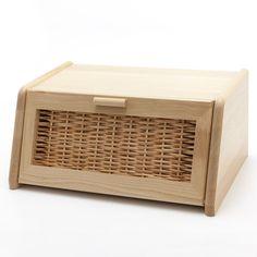 Holzfee BK-KL40 Buche Brotkasten Holz Rattan Klapptür Brotbox Brot Aufbewahrung