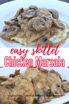 Restaurant quality Chicken Marsala Recipe you can make in the skillet on the stovetop. We let the marsala wine add the bulk of the flavor. Slightly lightened up by skipping the heavy cream and the butter. #chickenrecipe #chickenmarsala #cookingfromscratch Marsala Wine, Homemade Mashed Potatoes Recipe, Classic Lasagna Recipe, Marsala Recipe, Bbq Chicken Wings, Creamy Mushroom Sauce, Recipes With Few Ingredients, Restaurant Dishes, Marsala