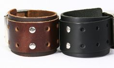 Chunky Leather Cuff Bracelet with Large Single Buckles, Chunky Leather Cuff single buckles