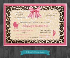 Baby Girl Shower Leopard Custom Designed Invitation - Pink, Brown and Leopard Print - Digital File Pink Invitations, Invitation Design, Baby Shower Invitations, Invitation Templates, Baby Shower Parties, Baby Shower Themes, Shower Ideas, Leopard Print Baby, Leopard Party