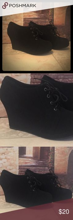 "black wedges 💋 Top Moda wedges in excellent condition, worn once! ❤ 3"" heel Shoes Wedges"
