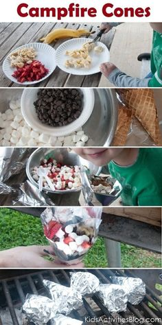 Campfire Cones -- Mix chocolate chips, mini-marshmallows, chopped strawberries & bananas. Fill an ice cream cone inside some tin foil & wrap tight. Place on grill grates. Presto.