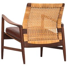 Ib Kofod-Larsen Easy Chair Model Åre Produced by OPE in Sweden at Vintage Furniture Design, Classic Furniture, Cane Furniture, Rattan Furniture, Outdoor Chairs, Lounge Chairs, Inexpensive Furniture, Scandinavian Furniture, Cool Chairs