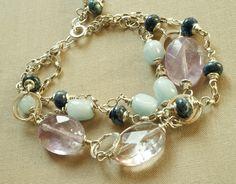 Silver Jewellery – Three row aquamarine sterling silver bracelet – a unique product by Tilia_ on DaWanda