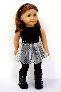 American Girl Doll ClothesBlack knit and Tulle by sewurbandesigns